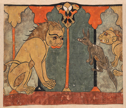 The lion-king Recruits the ascetic jackal. Painting the Kalila wa Dimna. Fine art print