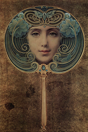 Art Nouveau female face painting by Louis Welden Hawkins