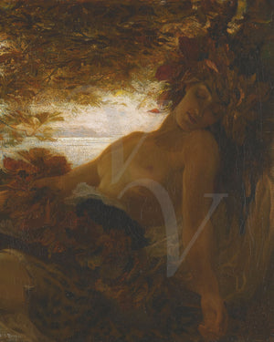 Autumn. Female Pagan forest nude. Painting by Herbert James Draper