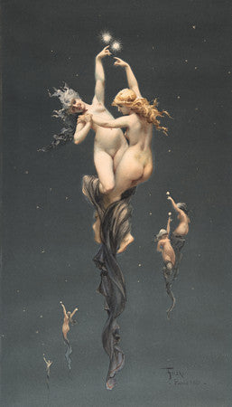 Twin Stars by Luis Ricardo Falero. Mythological nudes in night sky