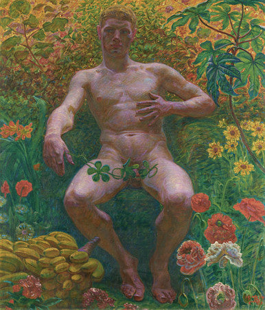 Male nude in garden painting. Adam. Fine art print