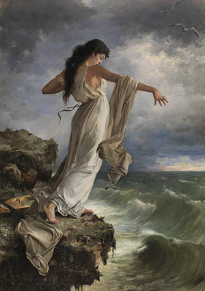 Death of Sappho painting by Miguel Carbonell Selva. Fine art print