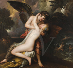 Cupid and Psyche. Mythological lovers painting. Fine art print
