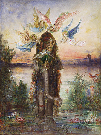 The Sacred Elephant (Peri) by Gustave Moreau. Symbolist painting. Fine art print