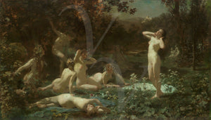 Antique painting of Pagan female nudes in a moonlit forest. Fine art print