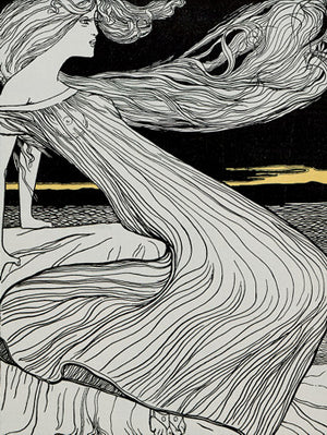 Art Nouveau illustration of Hero, a priestess of Aphrodite, from the Greek myth of Hero and Leander.