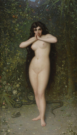 Eve. 19th Century painting. Nude female with a snake. Fine art print