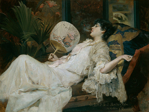 Painting, in exotic style, of a decadent reclining woman smoking. Fine art print