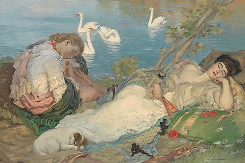 Endormies. Women sleeping by a lake with swans. Painting by Rupert Bunny