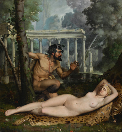 Pan and Venus painting. Antique mythology. Fine art print