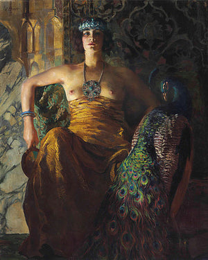 Woman with a peacock in an exotic setting. Fine art print