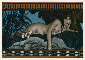 the Greek Goddess Artemis lying with her dog in the forest. Fine art print