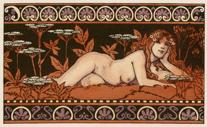 Art Nouveau illustration of a forest nymph. Mythological Pagan nature nude. Fine art print