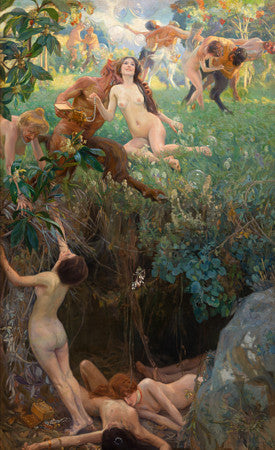 Abyss. Mythological nymphs and Fauns painting. Fine art print