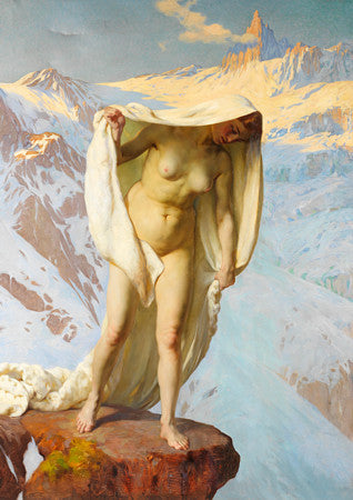 Female Mountain Spirit painting. Mythological woman. Fine art print