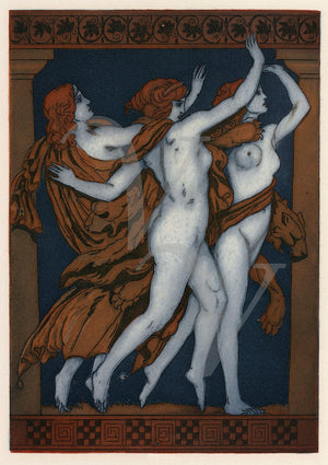 Art Deco illustration of three muses of Greek mythology.