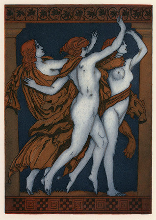 Three Greek Muses. Art Deco mythological illustration. Fine art print