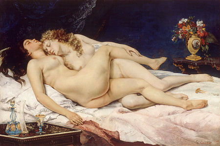 Female nudes entwined on a bed. The Sleepers. Painting Gustave Courbet. Fine art print