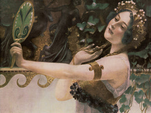 Vanity.  Woman admiring herself in a mirror. Art Nouveau fine art print