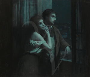Antique painting of young lovers dreaming. Fine art print