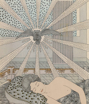 Art Nouveau illustration of Ovid's Nausicaa sleeping, whist the Owl of Athena, Goddess of Wisdom, speaks to her in a dream.