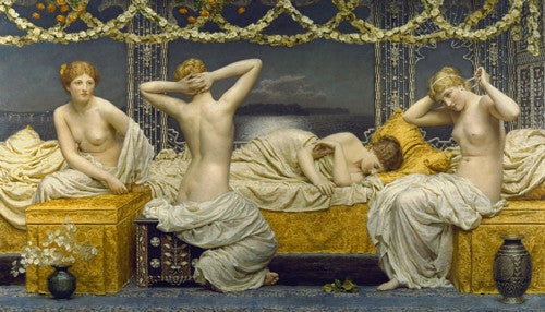 A Summer Night by Albert Joseph Moore. Victorian painting of four female nudes. Fine art print