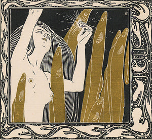 July by Koloman Moser. Art Nouveau female nude. ine art print