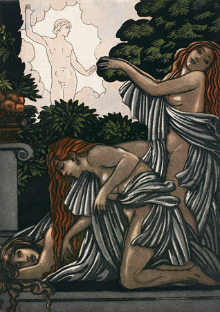 Three Bacchanalian Nymphs. Art Deco mythology. Fine art print