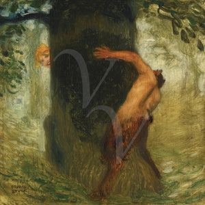 Painting of a Satyr chasing a woman around a tree. Fine art print