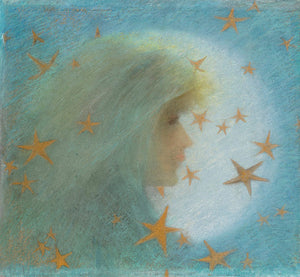 The Night. Painting of a mystical woman with stars. Fine art print