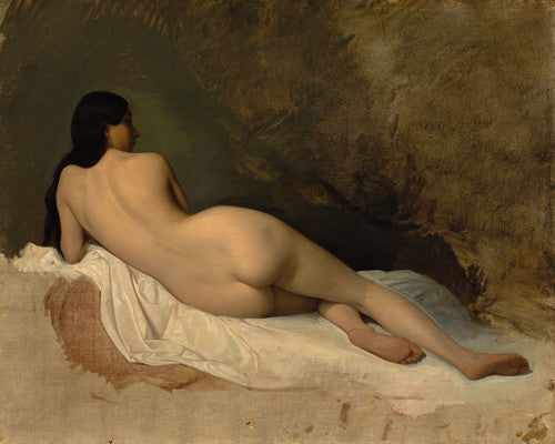 Study of a reclining female nude. Antique painting. Fine art print