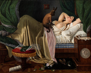 Nightmare by Ditlev Blunck. Dreaming woman with a demon sitting on her body. Fine art print