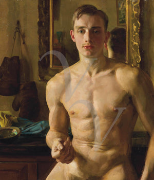 The Boxer by Konstantin Somov. Male nude portrait painting. Fie art print