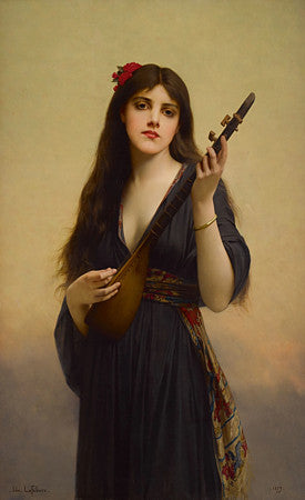 Woman Playing a Lute by Jules Joseph Lefebvre. Fine art print