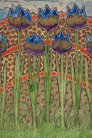 Art Nouveau flowers. Fine art print