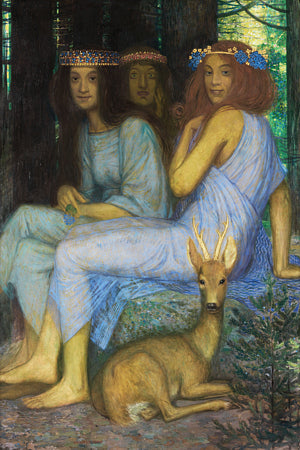 Forest Nymphs and a Deer painting. Fine art print