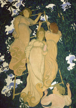 Ladder in the Foliage by Maurice Denis. Art Nouveau women in a tree painting. Fine art print