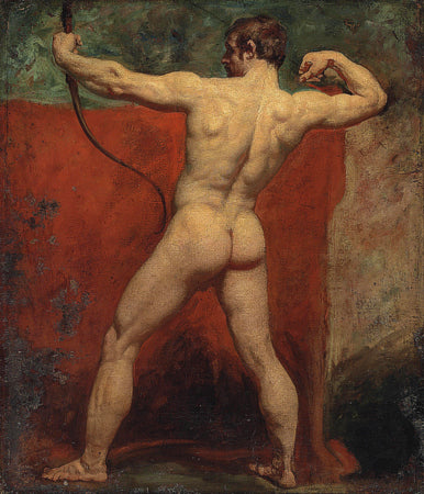 The Archer by William Etty. Male nude study. Antique painting. Fine art print