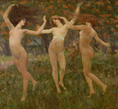 The Three Graces. Visione Antica by by Cesare Laurenti. Pre-Raphaelite painting