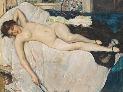 Reclining female nude. Antique boudoir painting. Fine art print