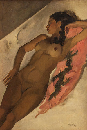Painting of a reclining nude. Fine art print