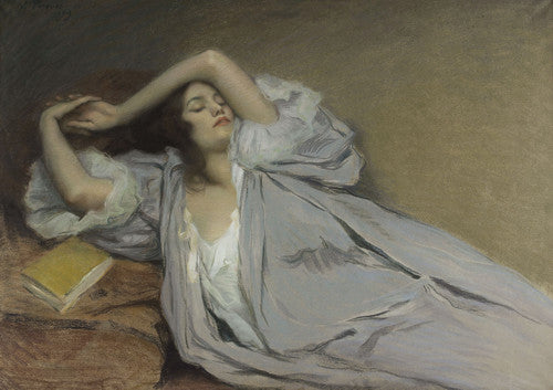 Woman Lying on a Couch. Antique pastel painting. Fine art print
