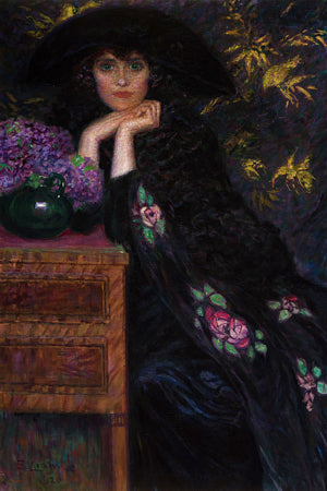Woman with Violets painting. Fine art print