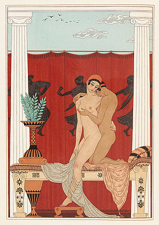 Les Chansons de Bilitis by Georges Barbier. Erotic lesbian lovers artwork. Fine art print
