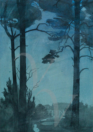 The Woods at Night. Dark forest vintage landscape painting. Fine art print