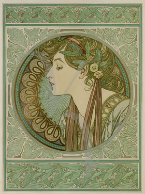 Female with Art Nouveau decoration by Alphonse Mucha. Fine art print