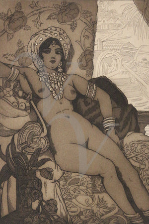 Erotic nude etching from Les Fleurs du Mal. Fine art print
