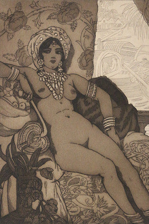 Exotic nude female etching from Baudelaire poem. Fine art print