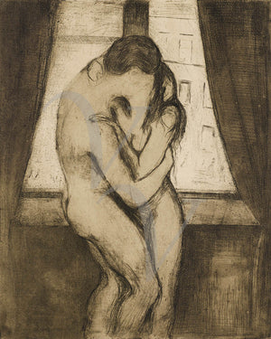 The Kiss by by Edvard Munch, Lovers. Fine art print