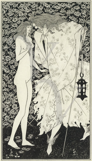 The Mysterious Rose Garden by Aubrey Beardsley. Art Nouveau nude. Fine art print